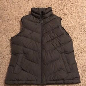 Brown lands end bubble vest